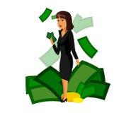 Businesswoman holding Banknote Vector Illustration royalty free illustration