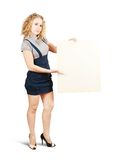 Businesswoman holding banner Stock Photography