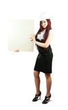 Businesswoman  holding a banner Stock Image