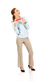 Businesswoman holding big pencil. Royalty Free Stock Images
