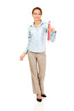 Businesswoman holding big pencil. Royalty Free Stock Image