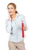Businesswoman holding big pencil. Stock Photos