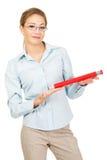 Businesswoman holding big pencil. Royalty Free Stock Photo