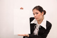 Businesswoman holding a billboard Royalty Free Stock Images