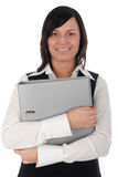 Businesswoman Holding a Binder. Young Smiling Businesswoman Holding a Binder Royalty Free Stock Photos