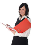 Businesswoman Holding a Binder. Young Businesswoman Holding a Binder Royalty Free Stock Images