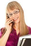 Businesswoman holding a black folder. Businesswoman calling by phone and smiling Royalty Free Stock Images