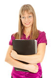 Businesswoman holding a black folder Stock Photography