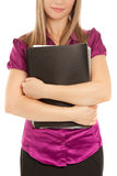 Businesswoman holding a black folder Royalty Free Stock Photos