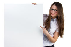 Businesswoman holding blank banner Royalty Free Stock Images