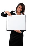 Businesswoman holding a blank board Royalty Free Stock Photo