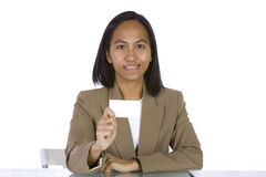 Businesswoman Holding a Blank Business Card Stock Images
