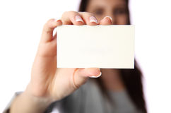 Businesswoman holding blank business card Royalty Free Stock Photography