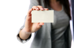Businesswoman holding blank business card Royalty Free Stock Image