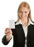 Businesswoman holding blank card Royalty Free Stock Images