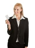Businesswoman holding blank card Royalty Free Stock Image