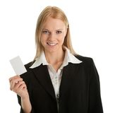 Businesswoman holding blank card Stock Images
