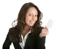 Businesswoman holding blank card Stock Photo