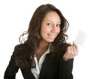 Businesswoman holding blank card Stock Photo