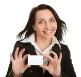 Businesswoman holding blank card Stock Photography