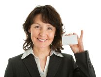 Businesswoman holding blank card Royalty Free Stock Photo