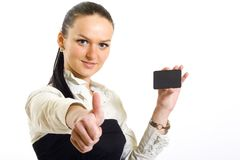 Businesswoman holding a blank card Royalty Free Stock Image