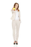 Businesswoman holding blank card. Royalty Free Stock Photography