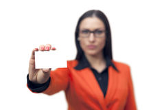 Businesswoman holding a blank card Stock Images