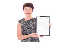 Businesswoman holding blank clipboard Royalty Free Stock Photo