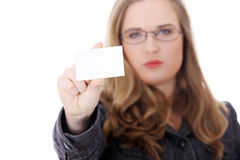 Businesswoman holding blank empty businesscard. Stock Photo
