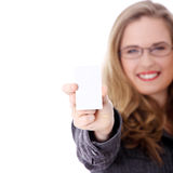Businesswoman holding blank empty businesscard. Royalty Free Stock Photos