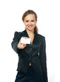 Businesswoman holding blank empty sign Stock Photography