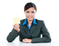Businesswoman Holding Blank Note Paper Stock Photo