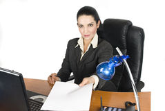 Businesswoman holding a blank page contract stock photos
