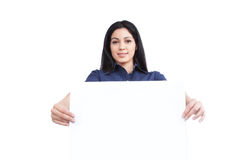 Businesswoman Holding Blank Placard Royalty Free Stock Photos