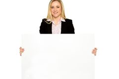 Businesswoman holding blank poster Stock Photo