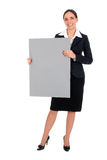 Businesswoman holding blank poster Royalty Free Stock Photography