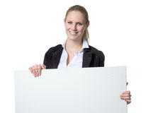 Businesswoman holding a blank sign Stock Images