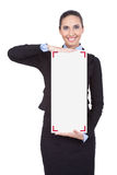 Businesswoman holding blank sing Stock Photos