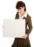 Businesswoman Holding a Blank White Sign Royalty Free Stock Photos