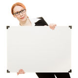 Businesswoman holding blank whiteboard sign. Royalty Free Stock Photo