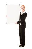 Businesswoman holding blank whiteboard sign. Stock Photo