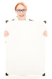 Businesswoman holding blank whiteboard sign. Stock Images