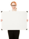 Businesswoman holding blank whiteboard sign. Royalty Free Stock Photography