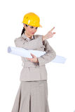 Businesswoman holding a blueprint Royalty Free Stock Photography