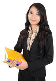 Businesswoman holding books Royalty Free Stock Photo