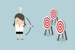 Businesswoman holding bow and arrow confused by multiple bulls eye target. Vector vector illustration
