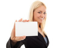 Businesswoman holding a business card Royalty Free Stock Images
