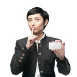 Businesswoman holding business card Stock Image