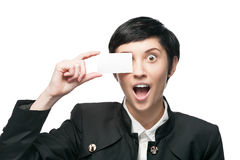 Businesswoman holding business card Stock Photo